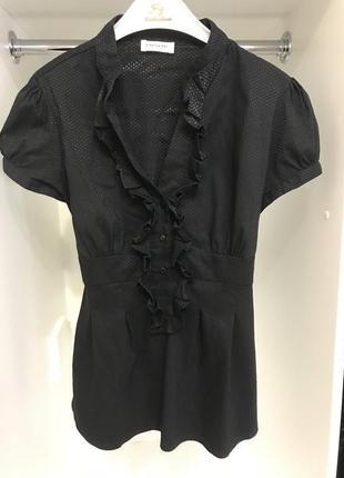 Ликвидация лета!чёрная блузка/блуза с короткими рукавами в мелкий горошек orsay