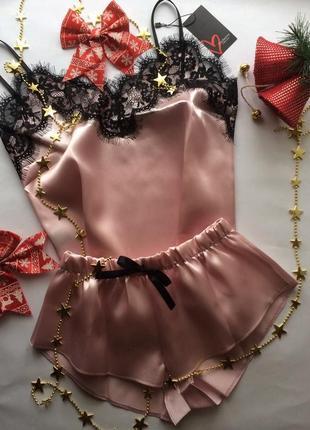 Атласная пижама с кружевом. пудра. размер 42 s