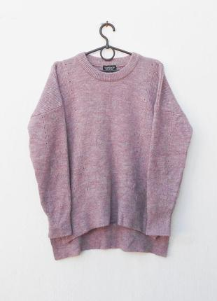 Вязаный осенний свитер оверзайз с длинным рукавом