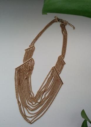 Уценка многоярусное колье ожерелье цепочка массивное бронза