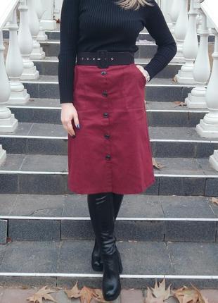 Крутая юбка в винном цвете!