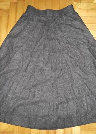 Соs, шерсть и кашемир, плотная теплая миди юбка а-силуэта! р.-34 (xs)