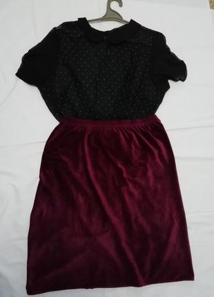 Бархатная юбка цвета бордо 48-50р