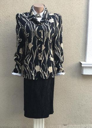 Фактур,шелк+шерсть костюм(юбка-жакет,пиджак)большой разм,кутюр-эксклюзив,бренд
