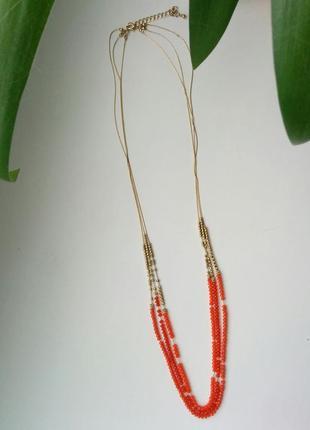 Трехъярусное колье ожерелье бусины бисер