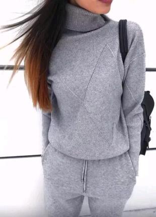 Вязаный костюм комплект свитер +штаны