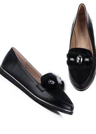Слиперы туфли мокасины лоферы черные классические лодочки