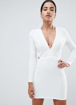 Акція 1+1=3    бандажна біла сукня з вирізом на талії in the style