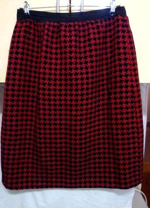 Теплая красивая прямая юбка - карандаш, 100% шерсть
