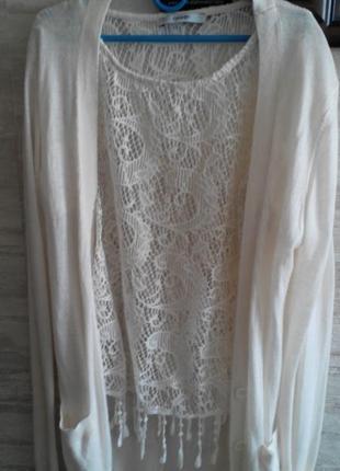 Ажурная блузка с кистями и кофточка