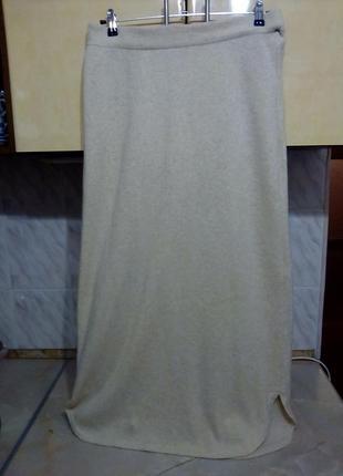 Теплая шикарная итальянская  прямая длинная юбка, шерсть ламы+ кашемир+ ангора