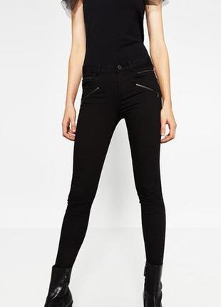 Стильные скинни джинсы с молниями zara women