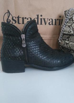 Стильные ботинки со змеиным тиснением kanna/zara spain