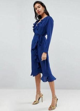 Asos платье миди тренд с рюшами шикарное платье аутлет
