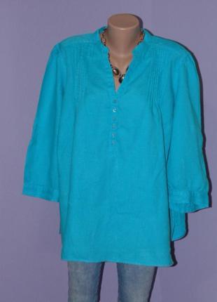 Бирюзовая льняная блузочка 22 размера