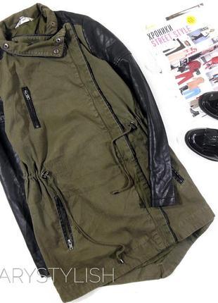 Парка куртка косуха с рукавами из эко-кожи