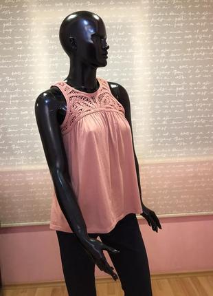 Пудровая блуза с оригинальной вязкой, 46размера
