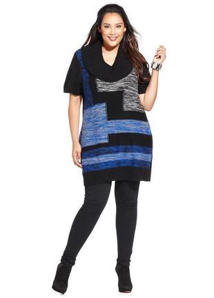 Туника, платье-свитер с геометрическим орнаментом впереди и короткими рукавами размер l