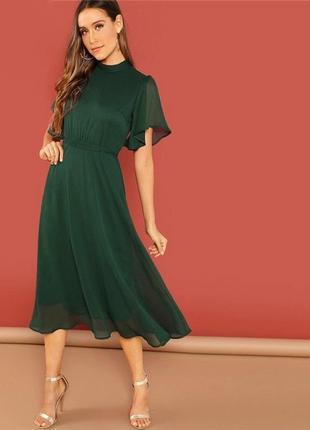 Платье зеленое шифон