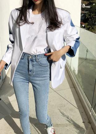 Cтильный джинсовый и деловой пиджак 2 в 1