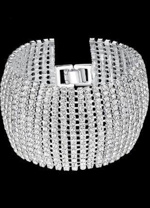 Шикарный браслет в камнях, широкий браслет, браслет в камнях люкс