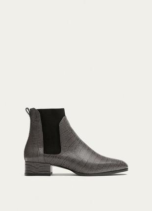 Кожаные полу сапоги,челси 24,5-25,5 см. ботинки massimo dutti 38,39р.