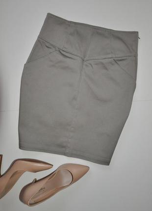 Серая базовая юбка карандаш h&m