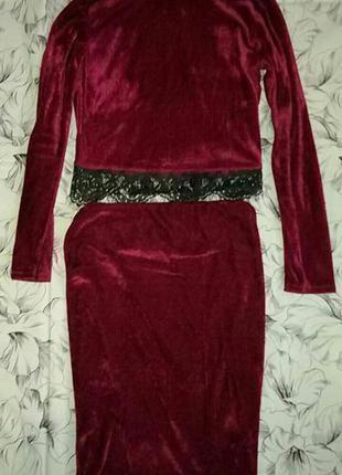 Бархатный велюровый костюм марсала бордовый кружево топ юбка миди