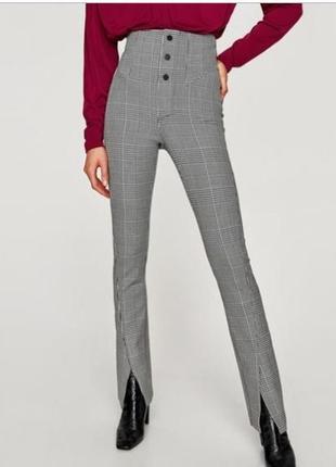 Новые стильные брюки в клетку с очень высокой посадкой на кнопках  zara новая коллекция