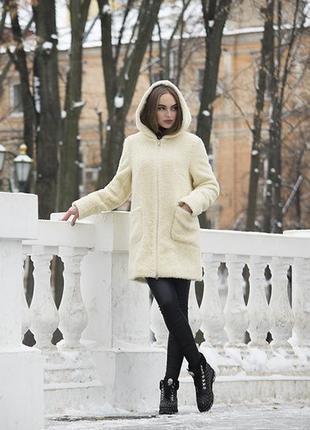 Пальто-шубка зимнее шерстяное с капюшоном