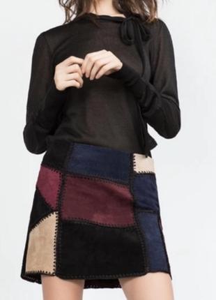 🌹 замшевая zara /мини - юбка трапеция 💃 с лоскутным швом 100% кожа 👌 zara woman china