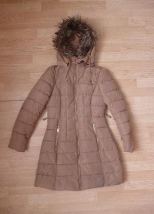 Теплая зимняя удлиненная курточка пуховик пальто