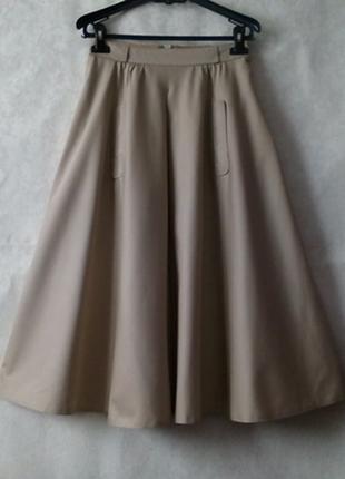 Шикарная юбка  солнце клеш миди с карманами