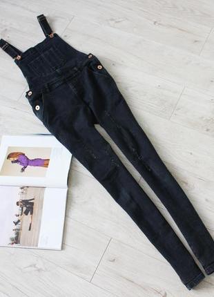 Крутой джинсовый комбинезон брюками с потертостями темно синий с 8