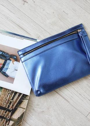 Шикарный клатч сумка металлик синий