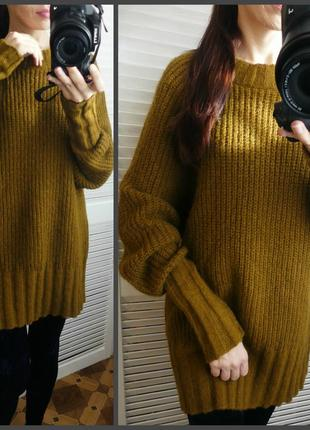Шикарный шерстяной удлиненный свитер,джемпер оверсайз edited (m и больше см.замеры)