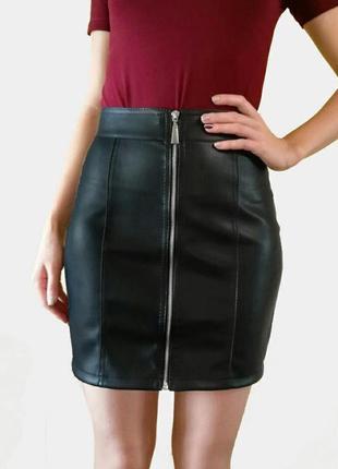 Юбка из экокожи на молнии карандаш/ шкіряна юбка на замку   опт