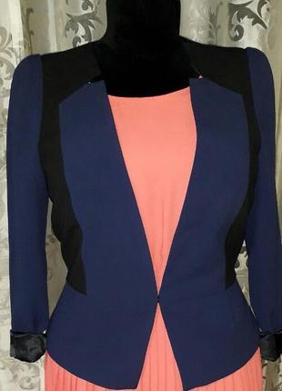 Стильный классический пиджак с баской oфис размер 10-12 h&m