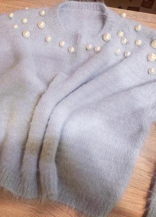 Укороченный свитер в жемчуг