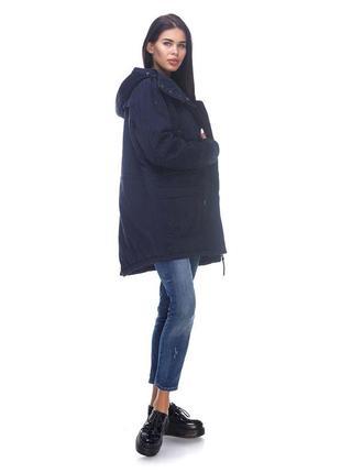 Темно-синяя парка куртка капюшоном демисезон vero moda