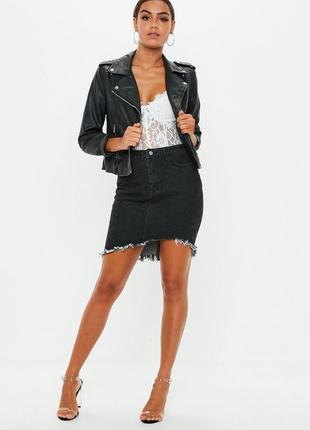 Крутая джинсовая ассиметричная юбка