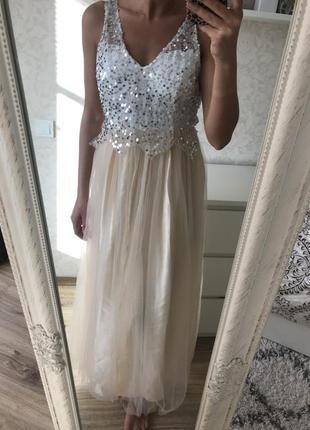 Платье s в пол расшито пайетками выпускное вечернее