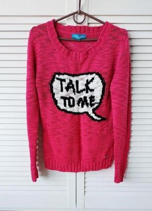 Яркий малиновый-розовый свитер с менеджером,s-m
