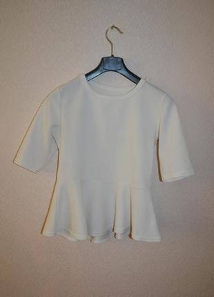 Блуза с баской\воланом внизу paris (два цвета в наличии!)