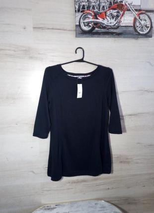 Тонкий чёрный свитер удлинённый размер 12