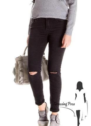 Джинсы 3d denim черного цвета с разрезами на коленях (италия)1 фото