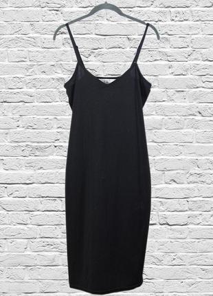 Черное платье комбинация, черный сарафан миди