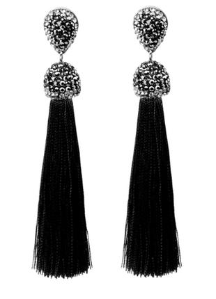 Модные серьги кисти черные код 1592