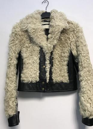 Куртка кожаная косуха натуральный мех