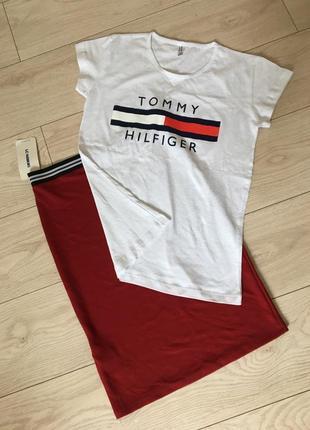 Костюм комплект юбка футболка хлопок